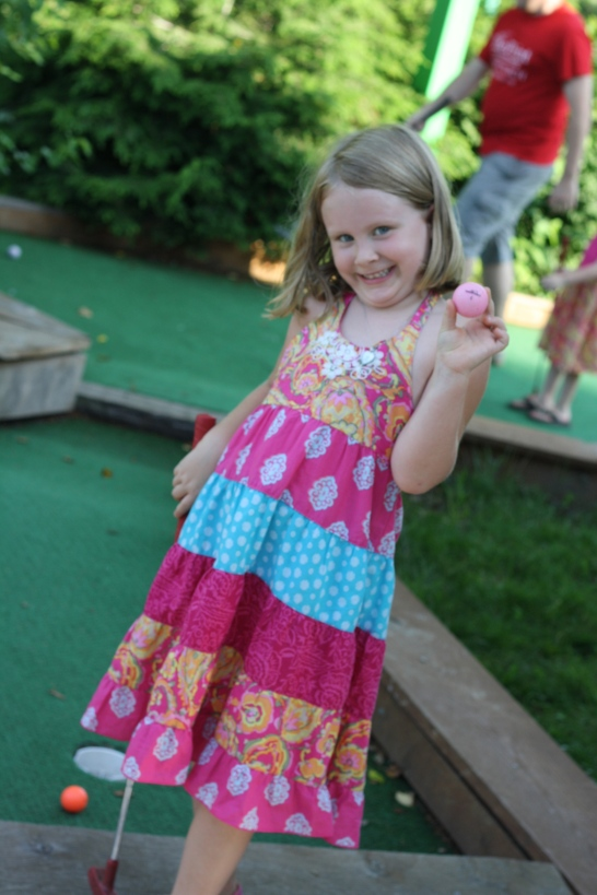 Sofia's favorite part of mini-golf: her pink ball!