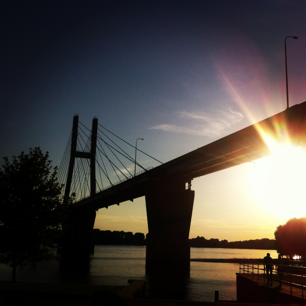 Quincy: the Mississippi at sunset.