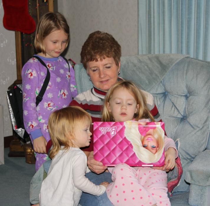The girls enjoying some grandma time.